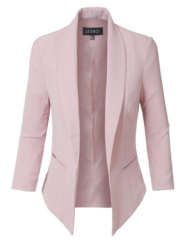 Fully Lined 3/4 Sleeve Open Front Tuxedo Blazer Jacket with Pocket 3