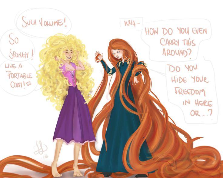 Rapunzel & Merida - hair swap... DO YOU HIDE YOUR FREEDOM IN HERE?!?