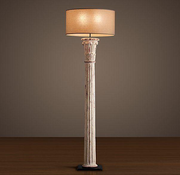 Cast Corinthian Column Floor Lamp Weathered White Column Floor Lamp Corinthian Column Floor Lamp