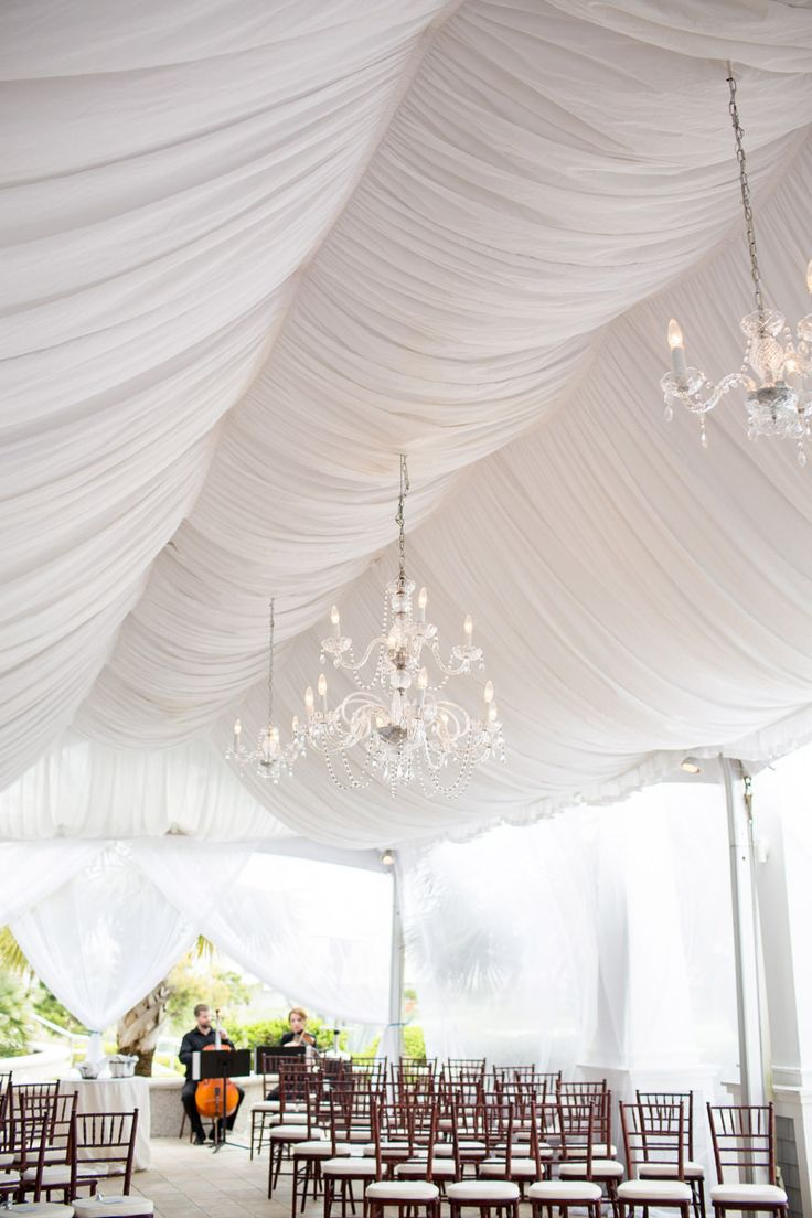 Columns ivory fabric uplighting wedding ceremony downtown double tree - Bald Head Island Wedding From Theo Milo Photography