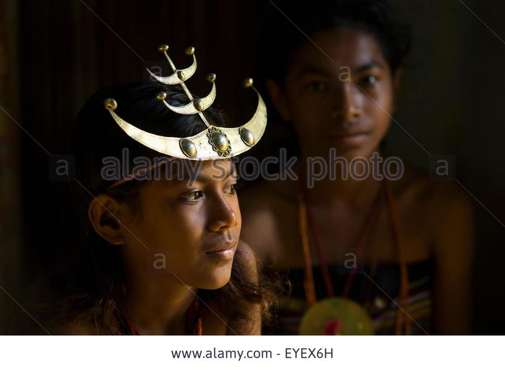 Girl with a traditional Timorese headband; Timor-Leste