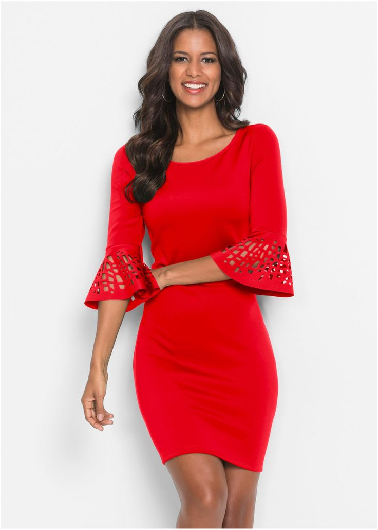 Kleid mit Cut-Outs rot jetzt im Online Shop von bonprix.de ab ? 32,99 bestellen. Traumhaftes Kleid mit Volant-Ärmel und Cut-Out-Muster sowie einem runden ...