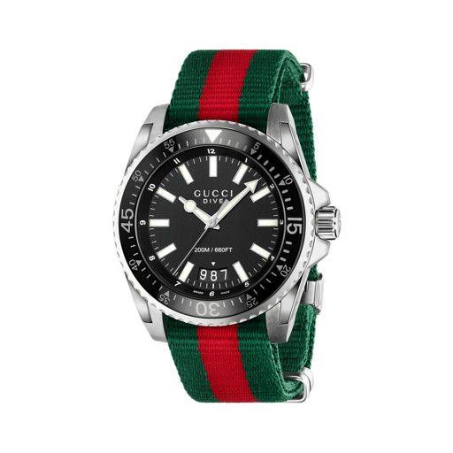 4593be98a77 Relógio Gucci Masculino Tecido Verde e Vermelho - YA136206