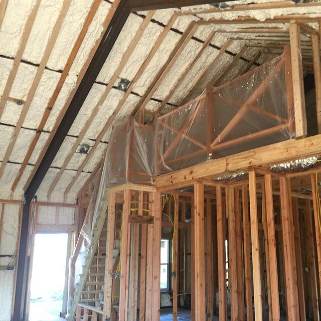 Spray Foam Insulation We Will Wrap The Beams With Wood After We Paint Godisgood Barndominium Barnhome In Spray Foam Spray Foam Insulation Foam Insulation