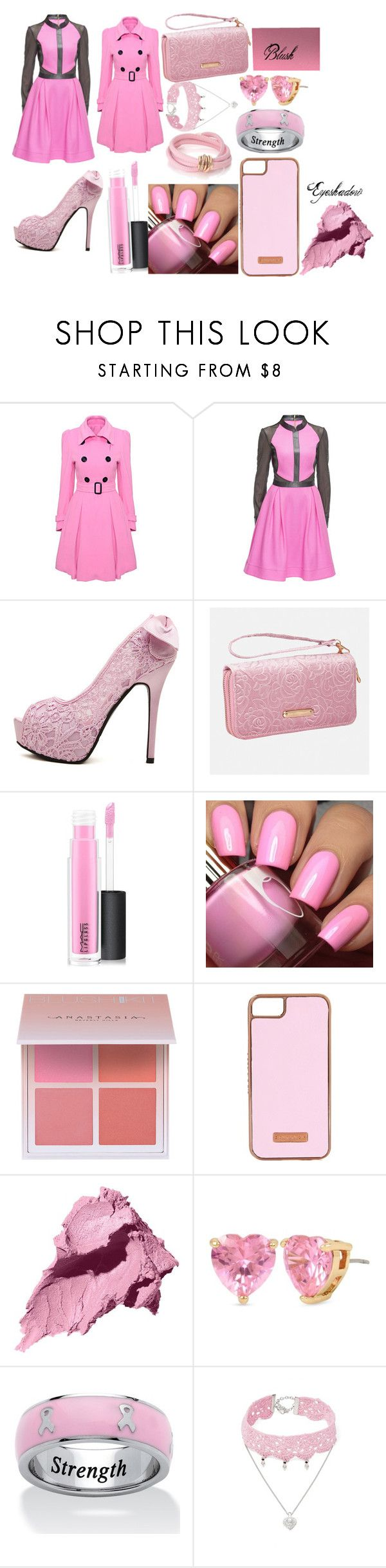 """""""Bubble Gum Pink"""" by peacetheelephant on Polyvore featuring WithChic, Lattori, Avenue, MAC Cosmetics, Anastasia Beverly Hills, Skinnydip, Bobbi Brown Cosmetics, Betsey Johnson, Palm Beach Jewelry and Design Lab"""