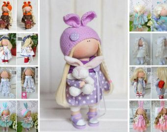 Bonita Rag doll Fabric doll Bambole Tilda por AnnKirillartPlace
