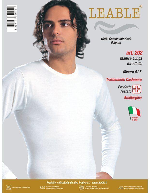 "Set 3 pz Maglia Manica Lunga Uomo A Giro ""LEABLE"" Cotone Caldo Made In Italy DD"