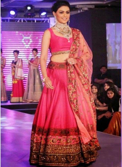Genelia Dsouza In Pink #Lehenga At Walk HVK Jewellery
