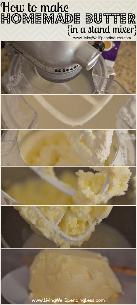 How to make homemade butter in a Kitchen-Aid mixer--I can't believe this is SO easy!  #homemade #butter #recipe