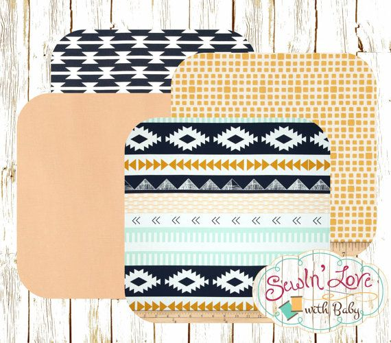Decorate your nursery in a southwestern style by mixing and matching these fabrics to create your own, unique nursery bedding. Choose the