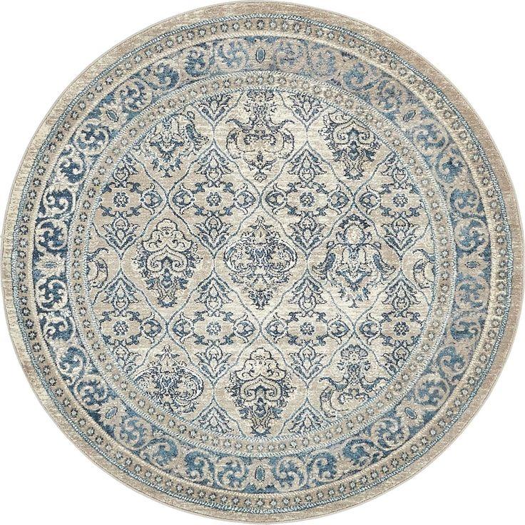 Unique Salzburg Grey/Blue Floral Round Rug (5' x 5') (Brown - Beige - Floral), Size 5' x 5'