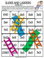 "Here's a ""Slides and Ladders"" game for practicing multiplication by 5."