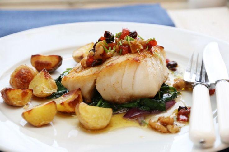 5. Pannestekt torsk med valnøttvinaigrette