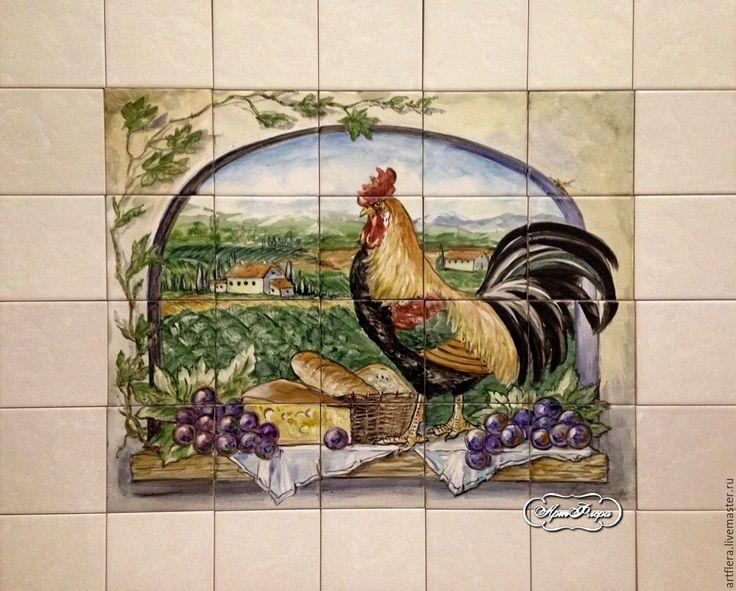 Купить Роспись плитки Фартук для кухни Панно из плитки Петух Тосканы 2 - Роспись плитки