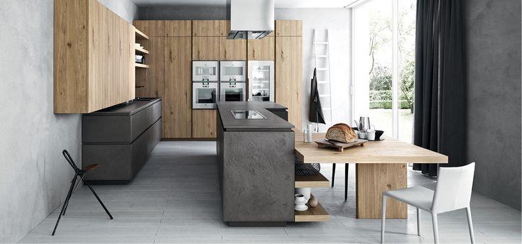 Cloe - Dark eco cement Natural Knotted oak - http://cesar.it/en/cucine/cloe/