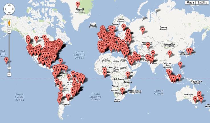 Lluvia de tweets geolocalizados en tiempo real... una locura....(pinned by @jagtomas)