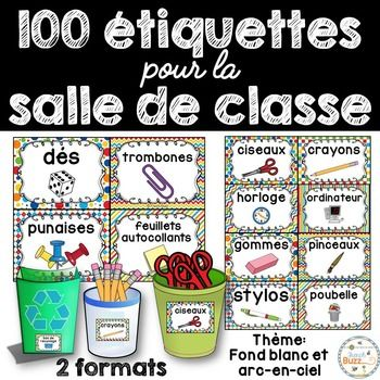 Classroom Supply Labels French - 100 étiquettes pour la classe - Version 7