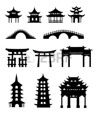 Chinese traditional buildings Stock Vector