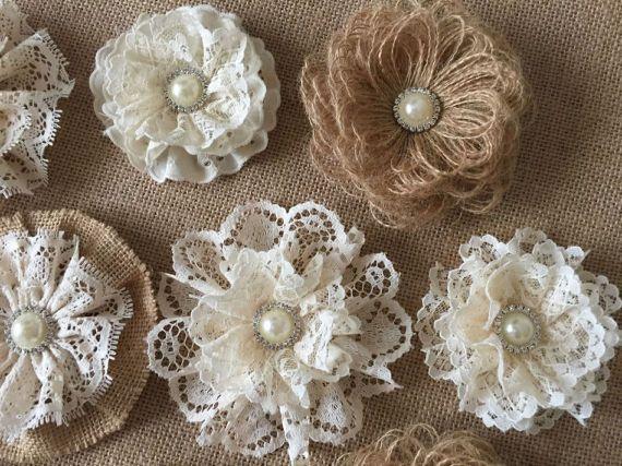 10 burlap and lace handmade flowers with metal rhinestone