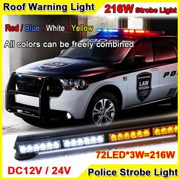 216W Super Bright Car Roof Led Strobe Lights Bar Police Emergency Warning Fireman Flash 12V 37.5\'\' Red Blue Led Police Lights