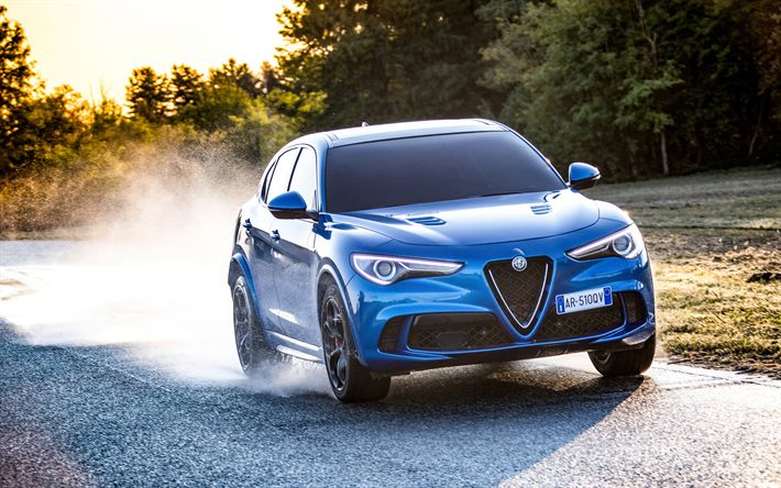 Download wallpapers Alfa Romeo Stelvio, Quadrifoglio, 2018, blue luxury crossover, road, speed, wet road, blue Stelvio, Alfa Romeo
