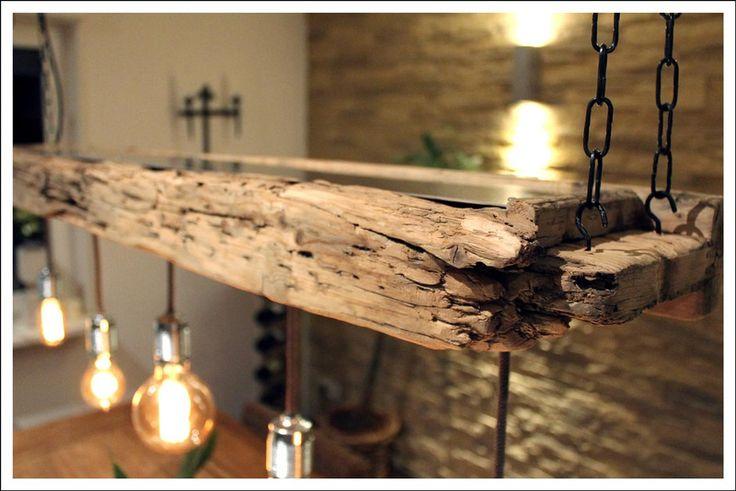 Hängelampen - RETRO LAMPE ★EDISON★ AUS ALTEM BAUHOLZ - ein Designerstück von Villa-Huehni bei DaWanda