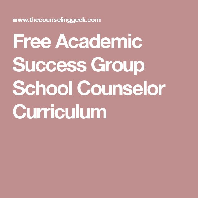 Free Academic Success Group School Counselor Curriculum