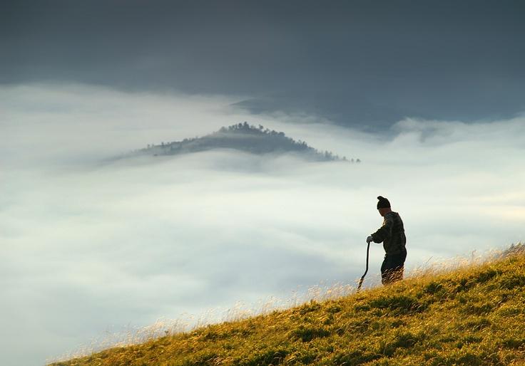 Shepherd in Carpathian Mountains