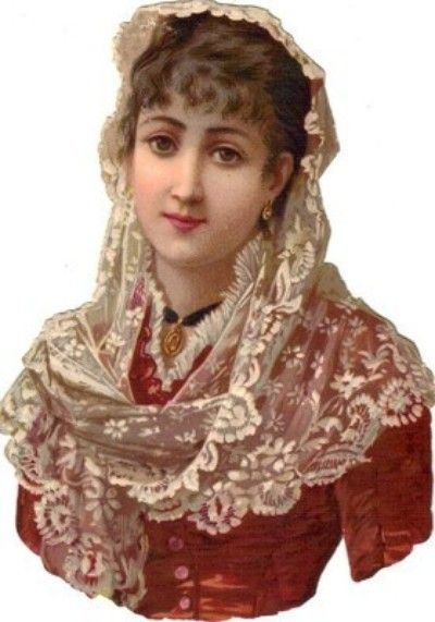 Victorian Die Cut Scrap Lovely Lady in Red w Lace Veil (07/02/2013):