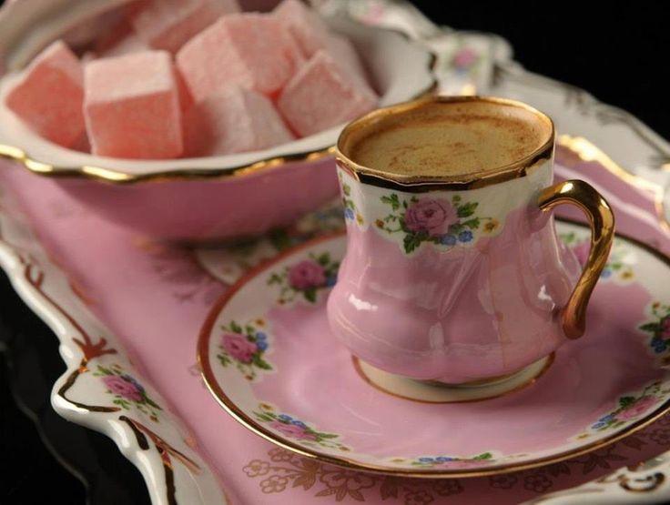 Turkish coffee, Turkish Delight, English china.                                                                                                                                                      More