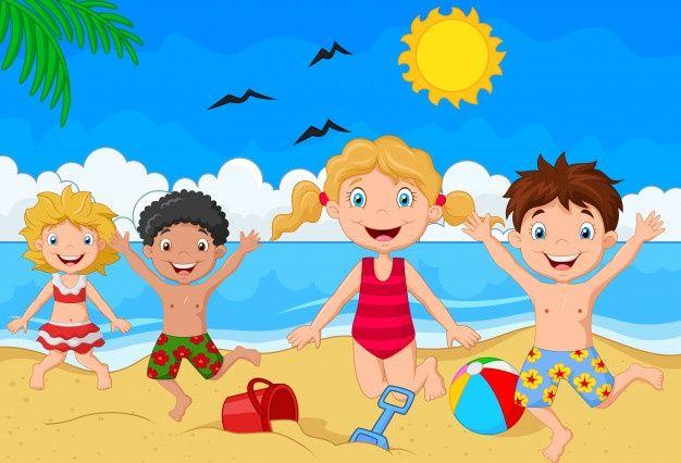 Día de verano de dibujos animados Vector... | Premium Vector #Freepik  #vector #familia #… | Imagenes animadas de niños, Dibujo de niños jugando,  Pinturas para niñas