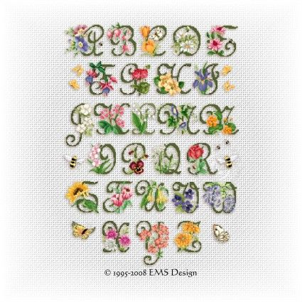 Free Garden Alphabet--Ellen Maurer-Stroh (EMS) Cross Stitch Design site.  She has lots of free beginner patterns and a larger project for each year given out in 12 parts (one per month).