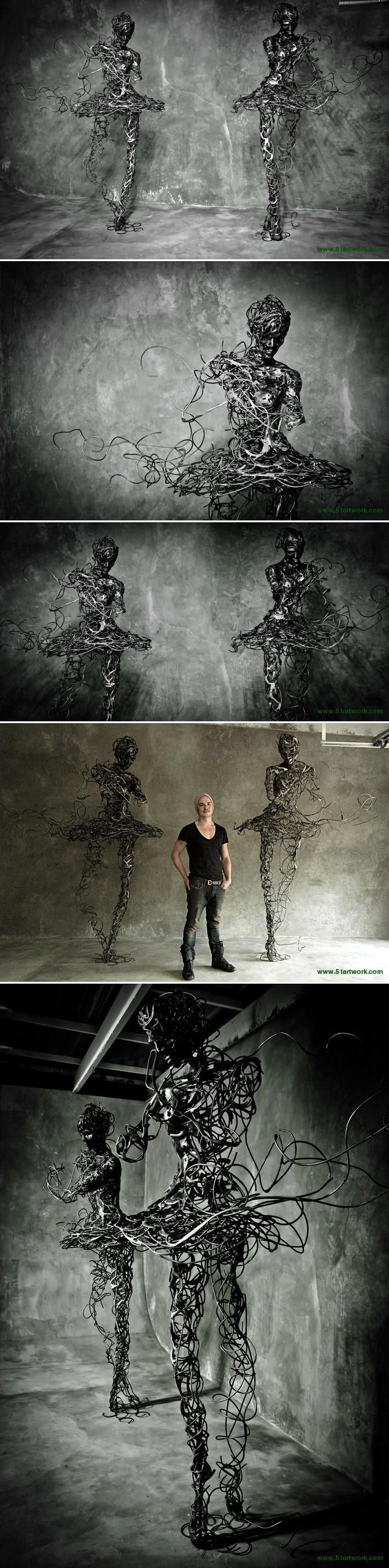 Artist Regardt van der Meulen created a series of sculptures that focused on the human body with its vulnerability and strength. http://en.51artwork.com/regardt-van-der-meulen-untitled/