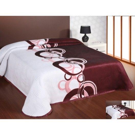 Luxusný obojstranný prehoz na posteľ bielo ružovo bordový  s motívom