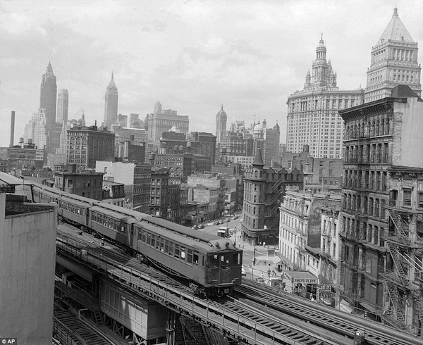 Historic New York City.The Third Avenue elevated train rumbles across lower Manhattan in this undated photo. City Hall can be seen in the background