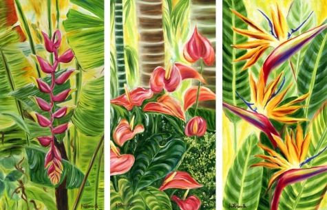 Trio of commissioned tropical flower paintings, painting by artist Jenny Floravita