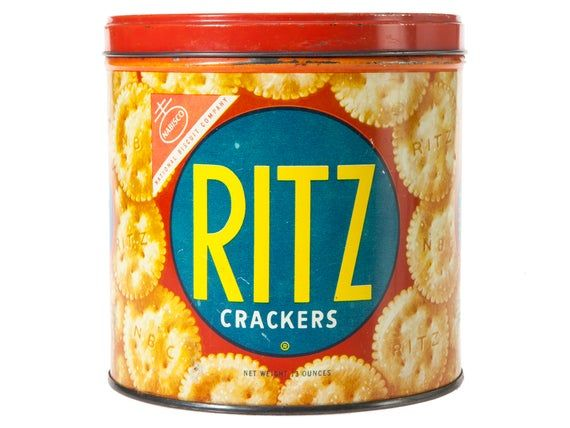 Vintage Ritz Crackers Tin – MidCentury Kitchen Decor – Large Blue and Red Nabisco Metal Container