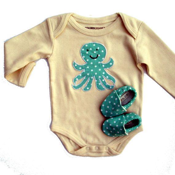 Octopus Organic Baby Gift  - So cute!: Babies, Octopus Organic, Baby Gifts, Baby Clothes, One Piece, Octopuses, Organic Baby, Organic Octopus