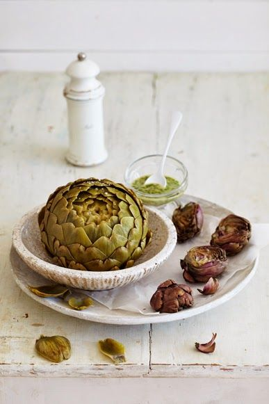 slow cooked artichokes with vinaigrette