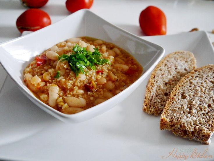 Zuppa di fagioli e bulgur - Ricetta e preparazione: cucina salutare e vegetariana - Tony's Happy Kitchen
