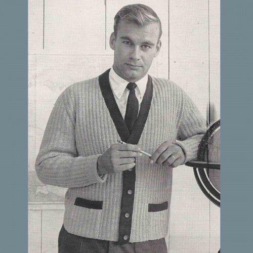 Mens Long Sleeve Sweater Vest Knitting PDF Pattern Vintage ...