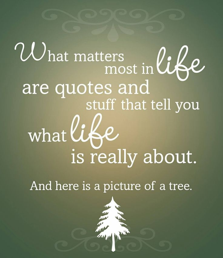 What matters most in life are quotes and stuff that tell