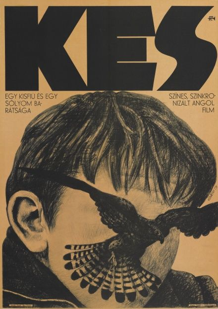 Kes (1969) Ken Loach (the original Hungarian film poster by Kemeny Gy)