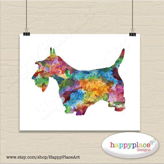 Scottie Dog Print - Skotsk Terrier racen Plakat som digital fil.  Hund Lover Gift - Scottie Puppy Owner 8x10in Digital File - mange racer