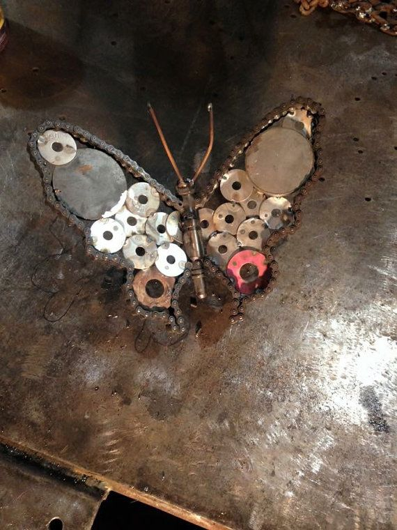 Butterflies made from used car,atv, motorcycle parts and various other metal objects.  These three have been sold  As you can see I dont duplicate exactly, every one made is original