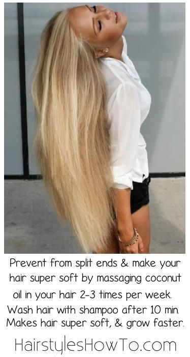 How to make your hair grow faster, keep it super soft & shiny hair while preventing from split ends by massaging coconut oil in your hair 2-3 times per week.