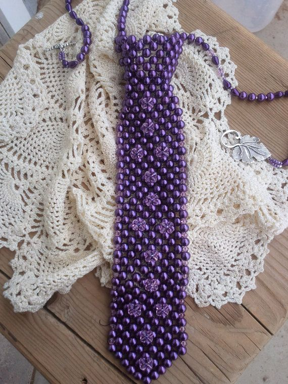 Beaded Purple Pearl Necktie by Ispilledthebeads on Etsy, $50.00
