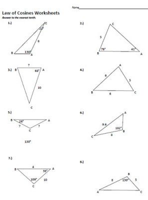 Worksheet Law Of Cosines Worksheet 1000 ideas about law of cosines on pinterest sines worksheets and printables cosine worksheet 1