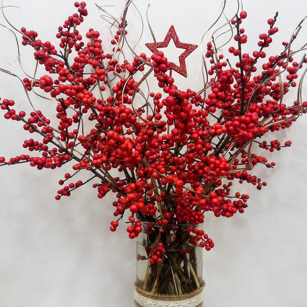 Red Ilex with Christmas Decor in Vase Xristougeniatiko Vazo