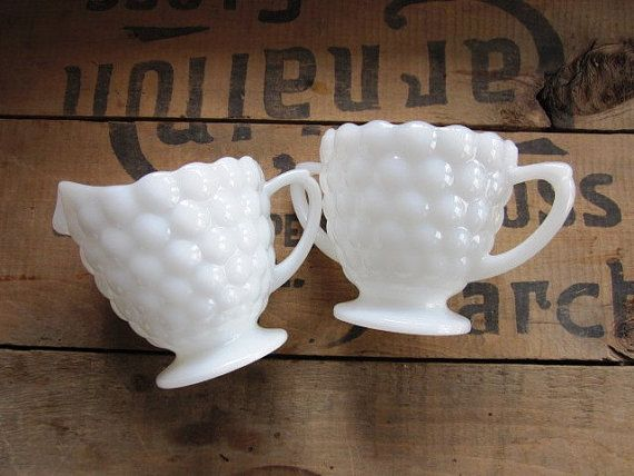 Sugar And Creamer Set, Vintage Milk Glass Hobnail Sugar Bowl And Creamer